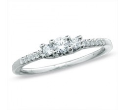 Inexpensive Three Stone Round Diamond Engagement Ring for Her