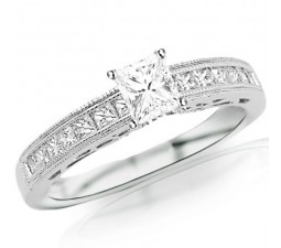Princess cut Antique Style Engagement Ring on