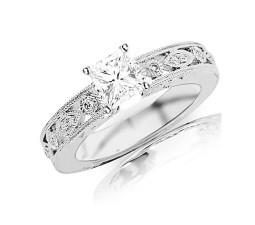 Inexpensive 1/2 Carat Princess Cut Antique Diamond Engagement Ring