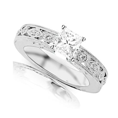 Carat Princess Cut Diamond Ring White Gold