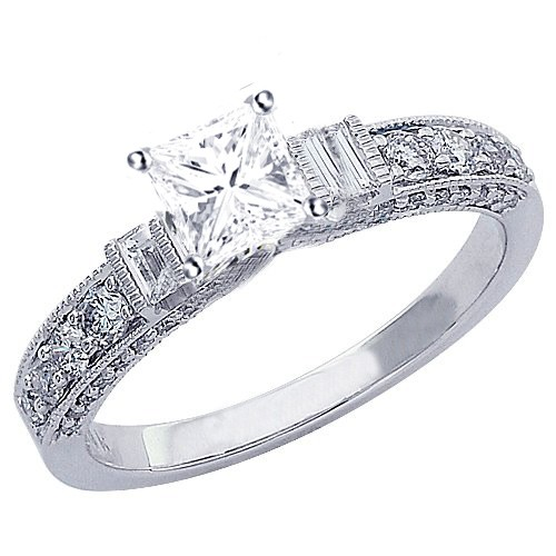 Inexpensive and Stunning GIA Certified Princess Cut Diamond Engagement Ring