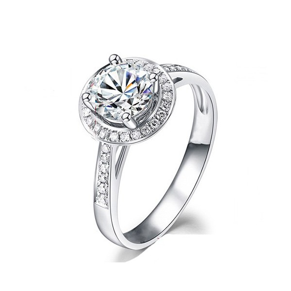 Diamond Engagement Ring On 9ct White Gold 1 Carat Halo Round Diamond