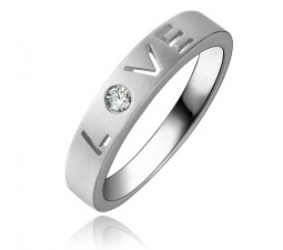 Love Diamond Wedding Band Promise Ring for Girlfriend