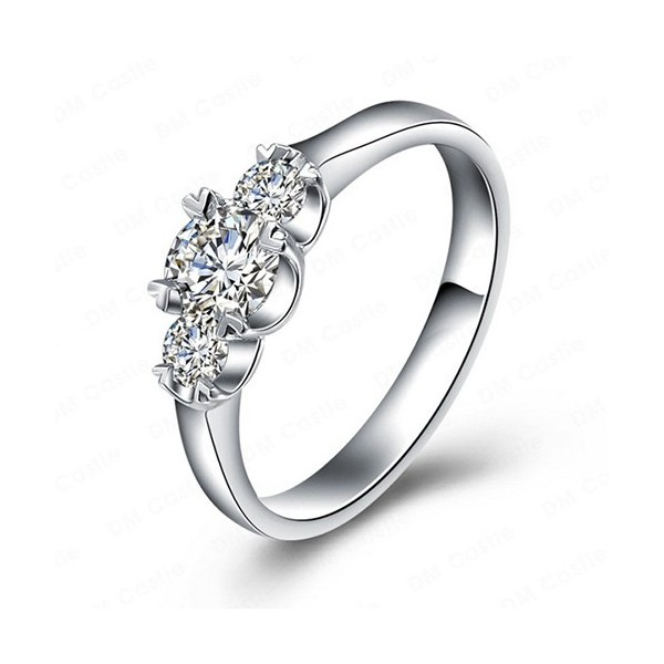 Enement Rings For Her | Round Past Present And Future Three Stone Diamond Engagement Ring