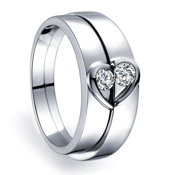 Unique heart shape couples matching wedding band rings on for Wedding band under engagement ring