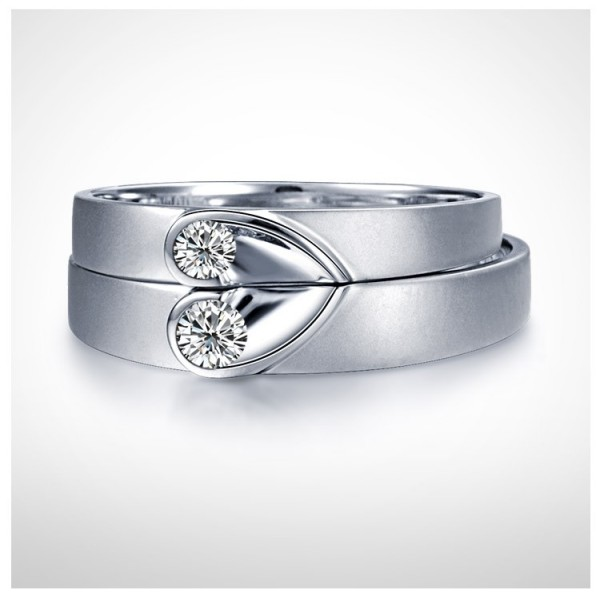 Unique Heart Shape Couples Matching Wedding Band Rings On Silver - JeenJewels