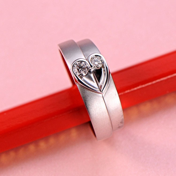 Rings  Rings Under 500  Unique Heart Shape Couples Matching Wedding ...