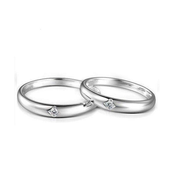 Inexpensive Matching Couples Diamond Wedding Bands Rings on Silver