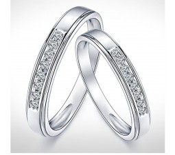 5340df6cc07dee Cheap Couples Matching Diamond Wedding Ring Bands on Gold. Mesmerizing  Happy Couples Rings 0.25 Carat Diamond on Gold