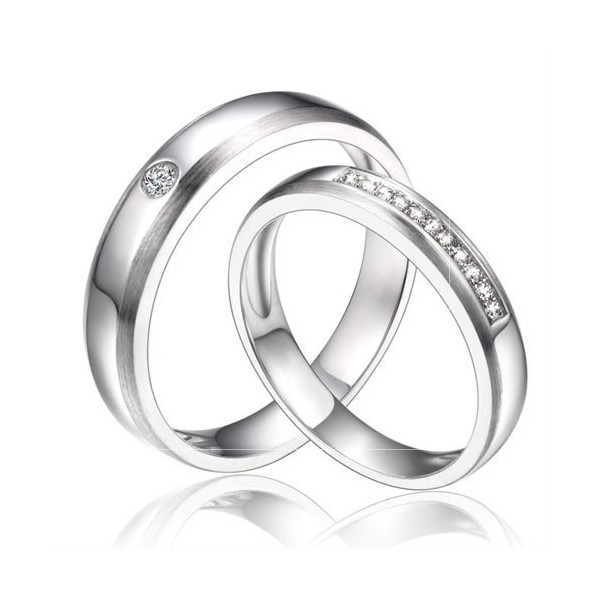inexpensive couples matching diamond wedding ring bands on silver - Wedding Ring Bands