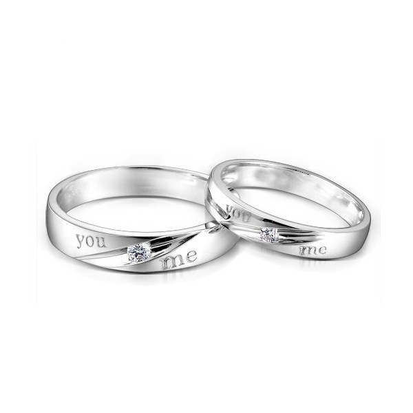 couples matching you me diamond wedding bands on silver jeenjewels. Black Bedroom Furniture Sets. Home Design Ideas