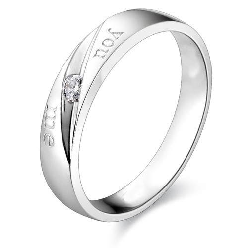 couples matching you me wedding bands on silver