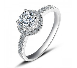 Cheap Round Halo Diamond Engagement Ring on White Gold