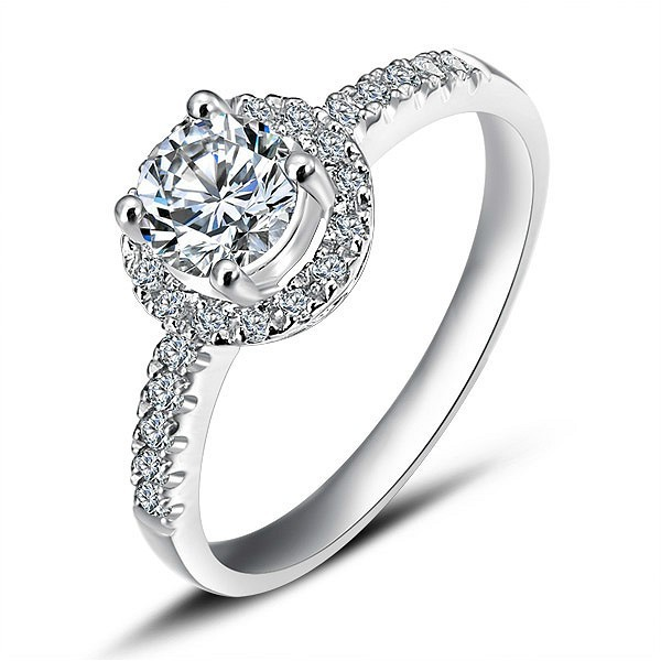 Cheap Halo Diamond Engagement Ring on White Gold JeenJewels