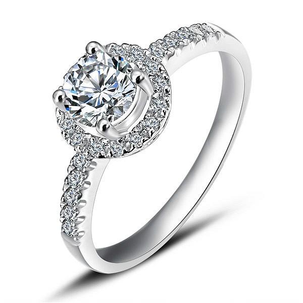 Cheap Halo Diamond Engagement Ring on White Gold - JeenJewels