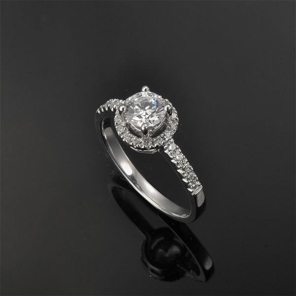 Luxurious Halo Cheap Engagement Ring 0 50 Carat Round Cut Diamond on White Go