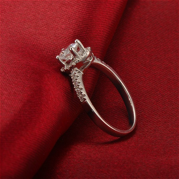 Luxurious Halo Cheap Engagement Ring 0 50 Carat Round Cut Diamond on White Go
