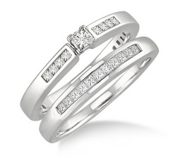 Cheap Princess Cut Diamond Wedding Ring Set on Gold