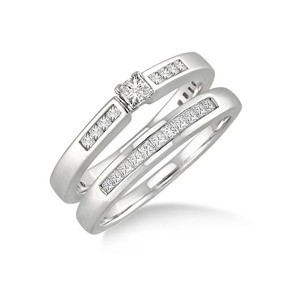 cheap princess cut diamond wedding ring set on gold - Wedding Ring Sets Cheap