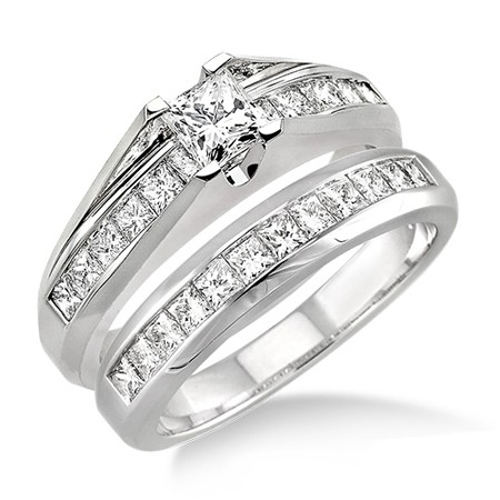 2 Carat Princess Cut Diamond Affordable Diamond Wedding Ring Set On 10K  White Gold.
