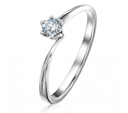 Cheap Round Solitaire Diamond Engagement Ring on Gold
