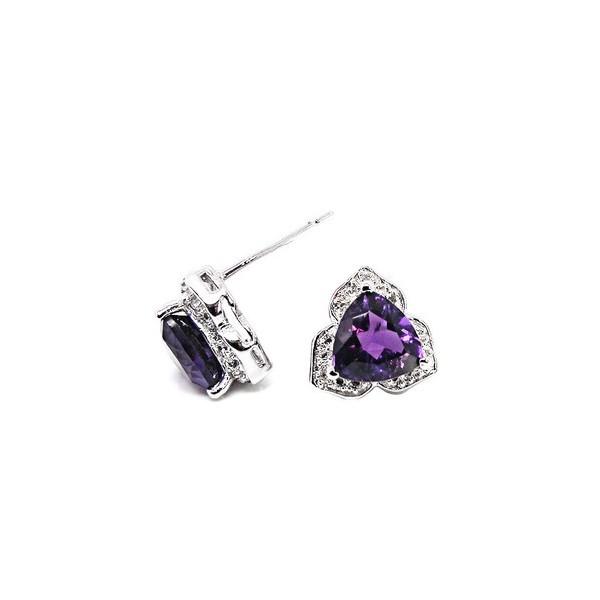1 Carat Heart Design Triangle Amethyst Earrings For Women