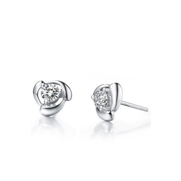 Stud Earrings On 10k White Gold 1 Carat Diamond