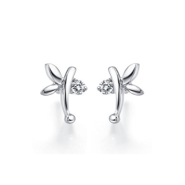 Angel Wings Butterfly Earrings on 10K White Gold JeenJewels