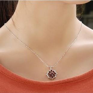 Flower petal shape 2 carat garnet pendant necklace for women flower petal shape 2 carat garnet pendant necklace for women mozeypictures Choice Image