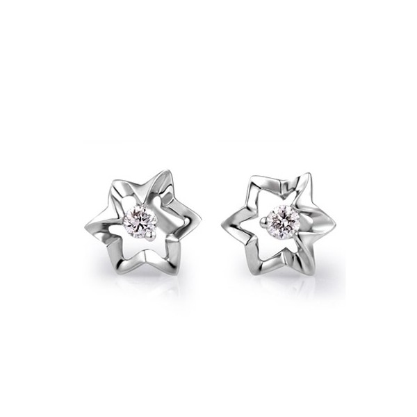 Flower Shape Diamond Earrings On 14k White Gold