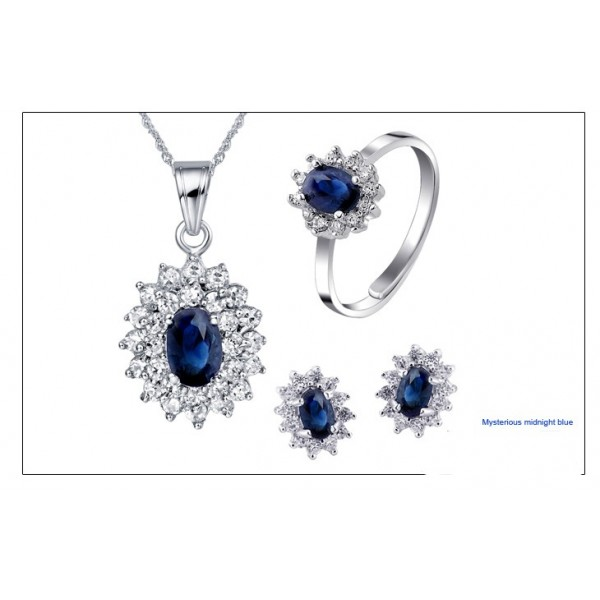 3 5 Carats Shire Engagement Ring Pendant And Matching Earrings Set For Women