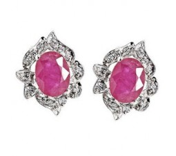 1.5 Carat antique Ruby solitaire Earrings for Women