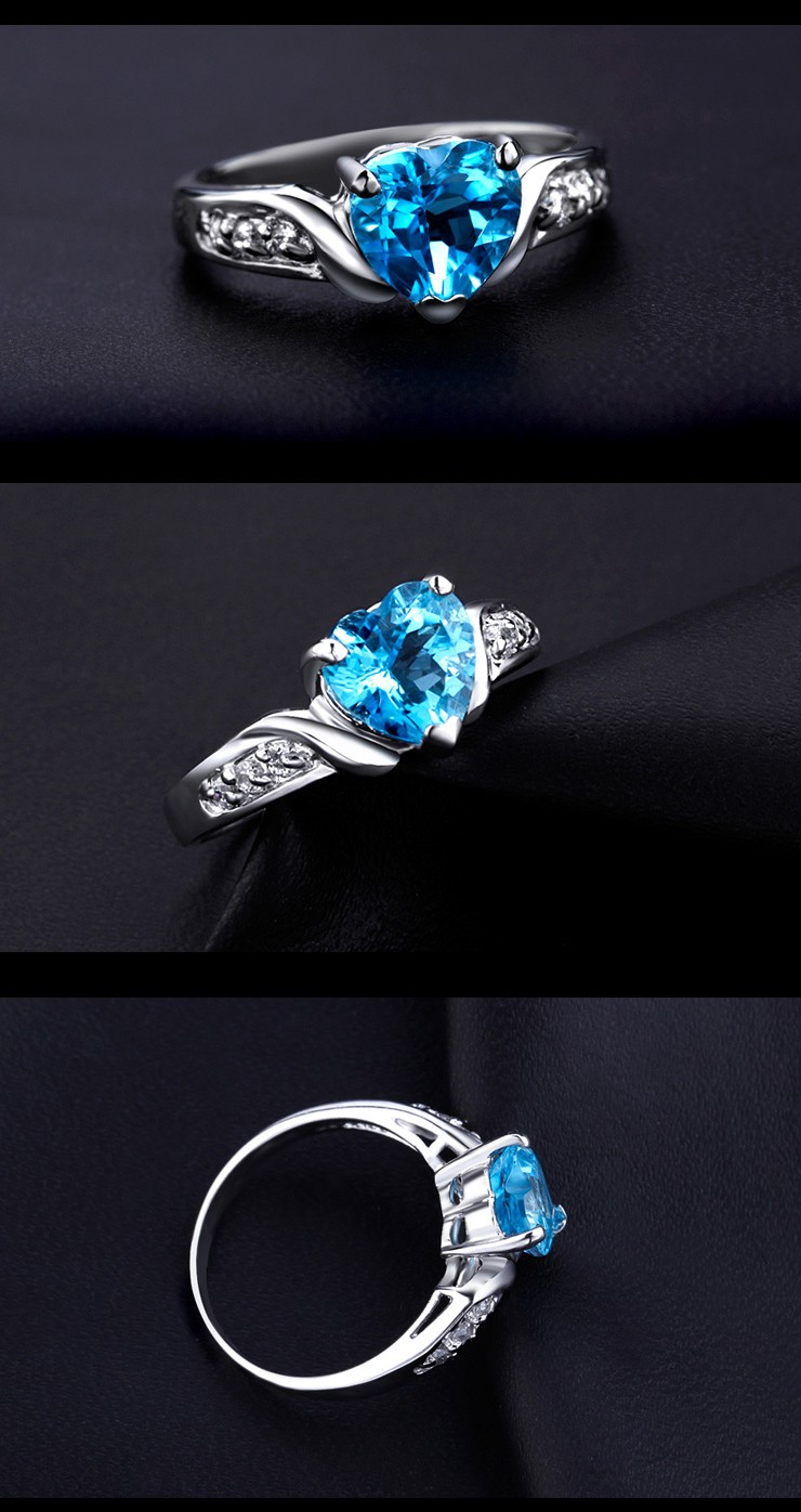 Heart Shape 1 Carat Blue Topaz Engagement Ring On Sale For