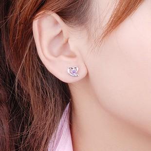 Half Carat Heart Shape Amethyst Solitaire Earrings For Women On