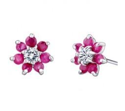 1 Carat Flower design Ruby Earrings for Women
