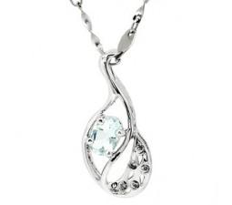 Half Carat Aquamarine Necklace Pendant on sale