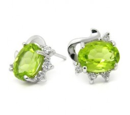Cheap 3 Carats Peridot solitaire Earrings for Women