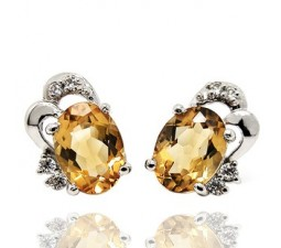 2.5 Carats Citrine Round Earrings for Women