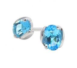 1 Carat blue topaz solitaire earrings for women