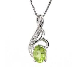1 Carat solitaire Peridot pendant necklace for Women
