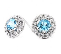 1 Carat Circle Round Topaz Earrings for Women