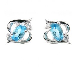 1 Carat solitaire Topaz Earrings for Women