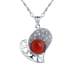 Solitaire Red Agate Pendant Necklace for Women