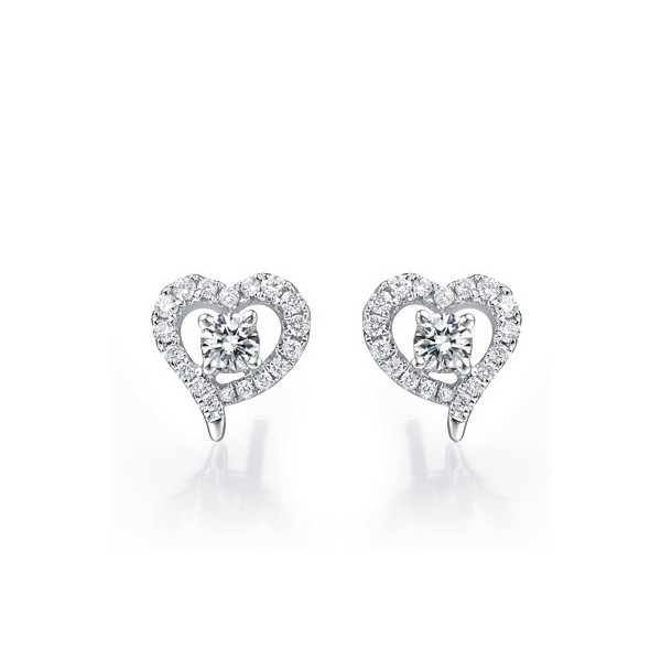 Earrings Heart Shape Diamond On10k White Gold 1 Carat