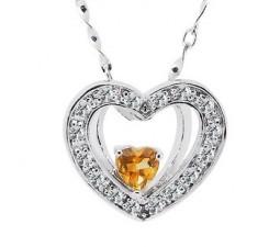1/2 Half Carat Citrine Heart Shape Pendant Necklace for Women