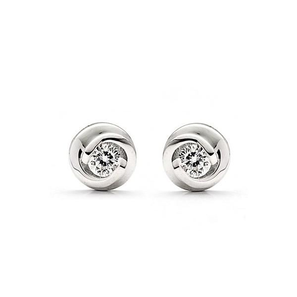 circle shape solitaire stud diamond earrings on10k white gold