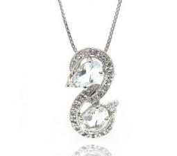 1 Carat Aquamarine S shape Swan Necklace Pendant for Women