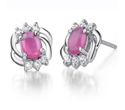 Half Carat Ruby Earrings at Inexpensive price for Women