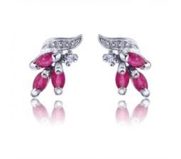 1 Carat 3 Stone Ruby Earrings for Women