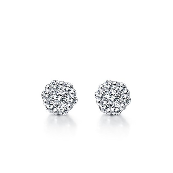Flower Shape Diamond Earrings On 18k White Gold 1 Carat